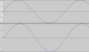 Top: original 200Hz sine wave. Bottom: filtered 200 Hz sine wave.