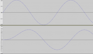 Top: original 2000Hz sine wave. Bottom: filtered 2000Hz sine wave.
